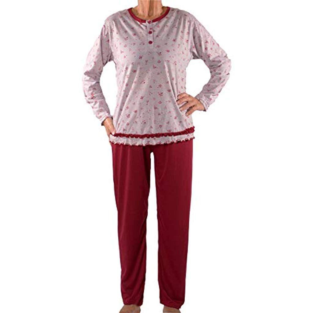Damen Senioren Oma Seniorenmode24 Blumen Mit Schlafanzug Kuschelig OvNw8n0m