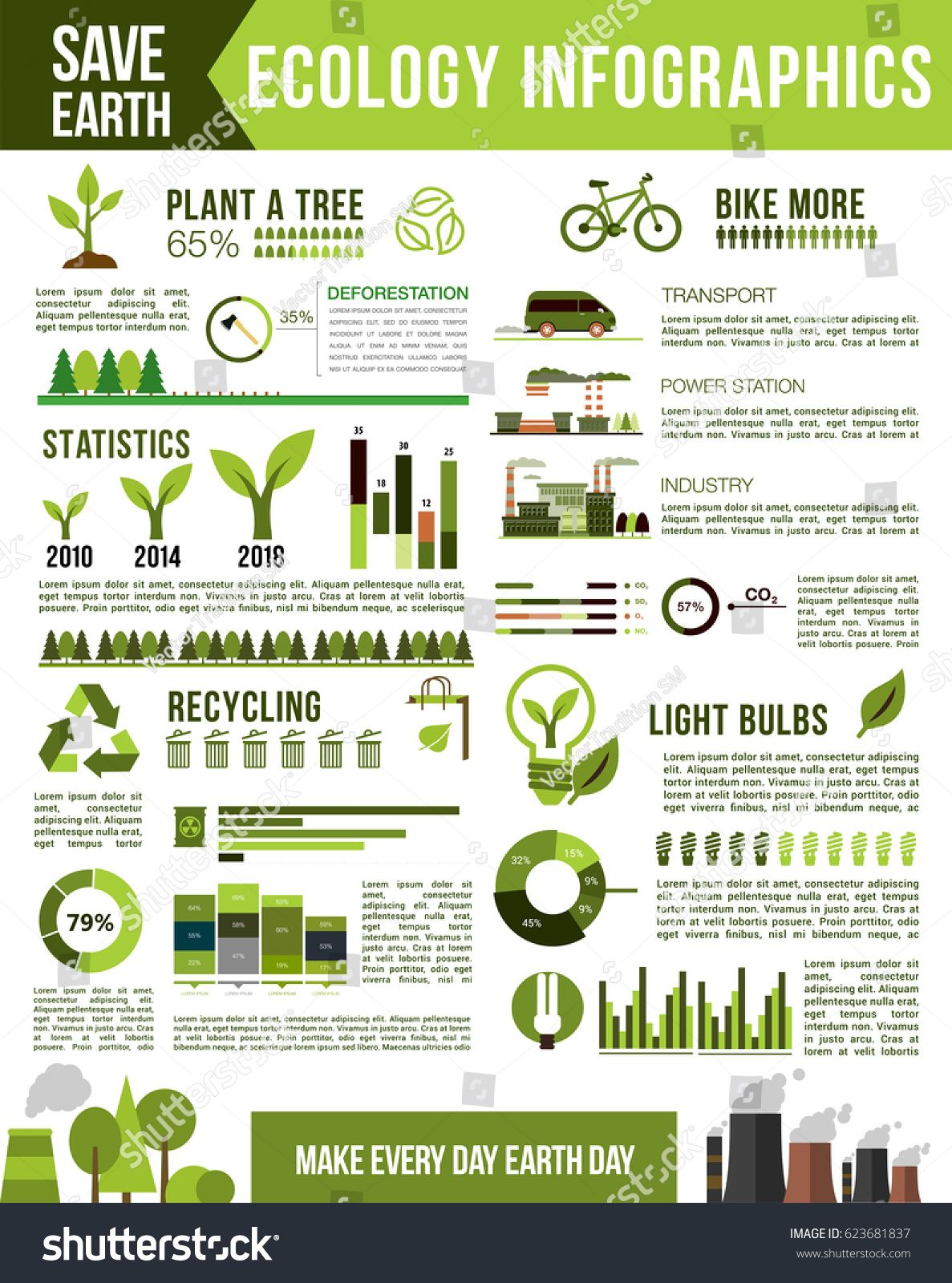 Ecology and nature conservation infographic. Air pollution