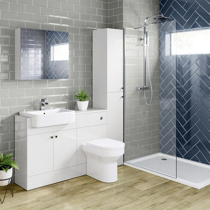 1500mm Harper Gloss White Combined Vanity Unit, Tall Unit ...