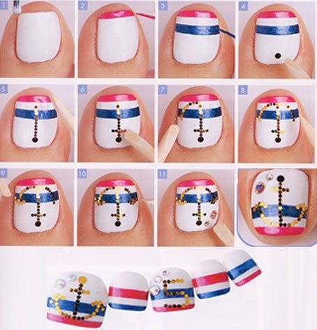 Step By Step Nautical Toe Nailscute For A Trip To The Beach Or