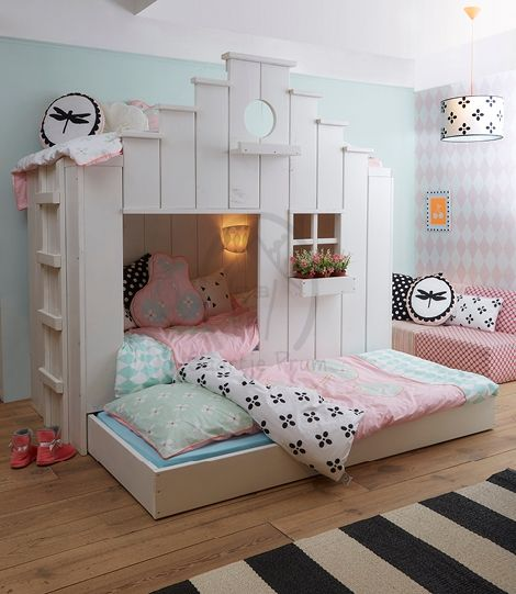 Boat Bed With Trundle And Toy Box Storage: Saartje Prum Girls Bunk House With Trundle