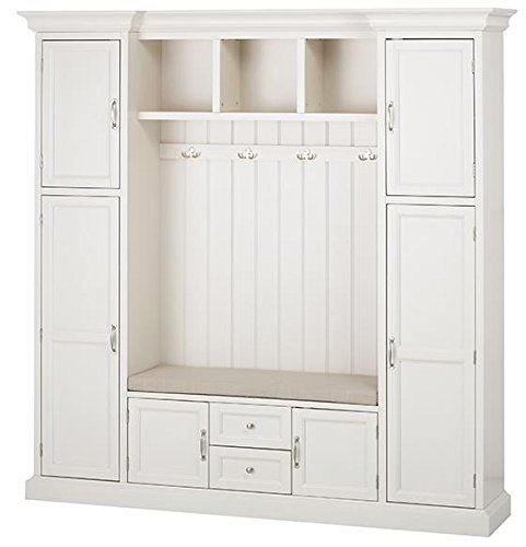 Royce All In One Mudroom 81 Hx79 Wx17 D Polar White Mud Room Storage Hall Tree Entryway Storage