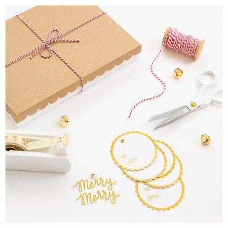 Sugar Paper® Kraft Brown/Gold Scallop Edge Rectangular Gift Box ...