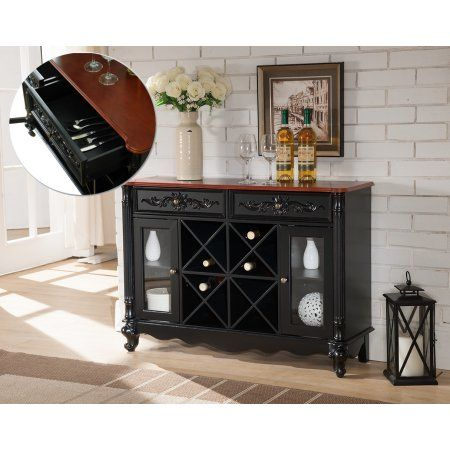 Black Walnut Wood Contemporary Wine Rack Sideboard Buffet Display Console Table With Storage Drawers