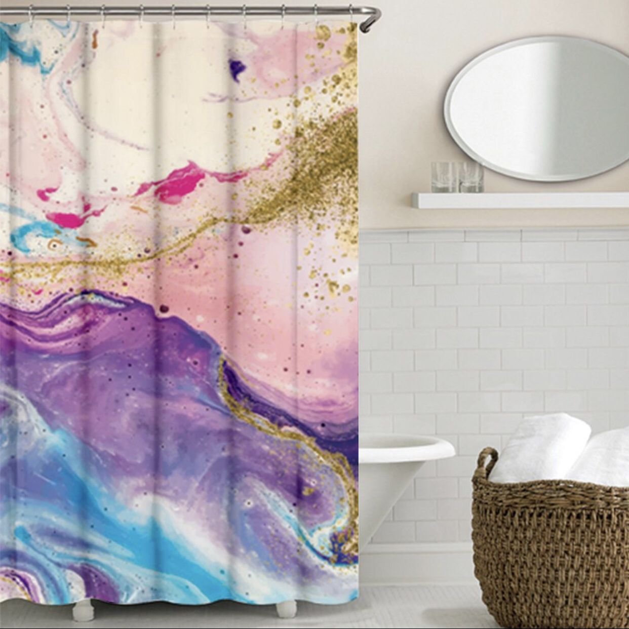 Watercolor Shower Curtain Purple And Gold Bathroom Decor