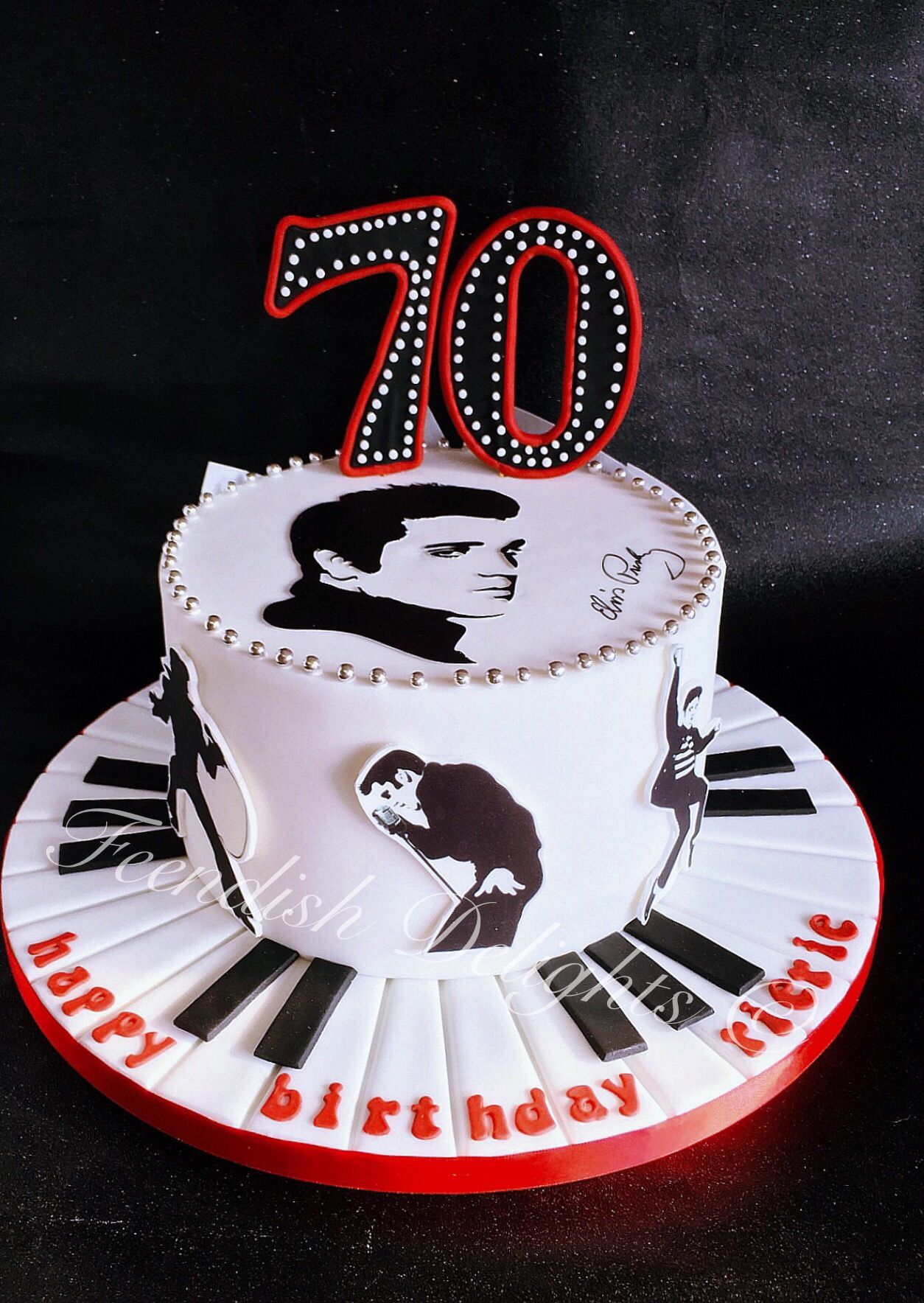 Ganache Inside Edible Prints Around The Sides And For Hand Cut Silhouette On Top Elvispresley Lemoncake Birthdaycake Surprise Piano Music