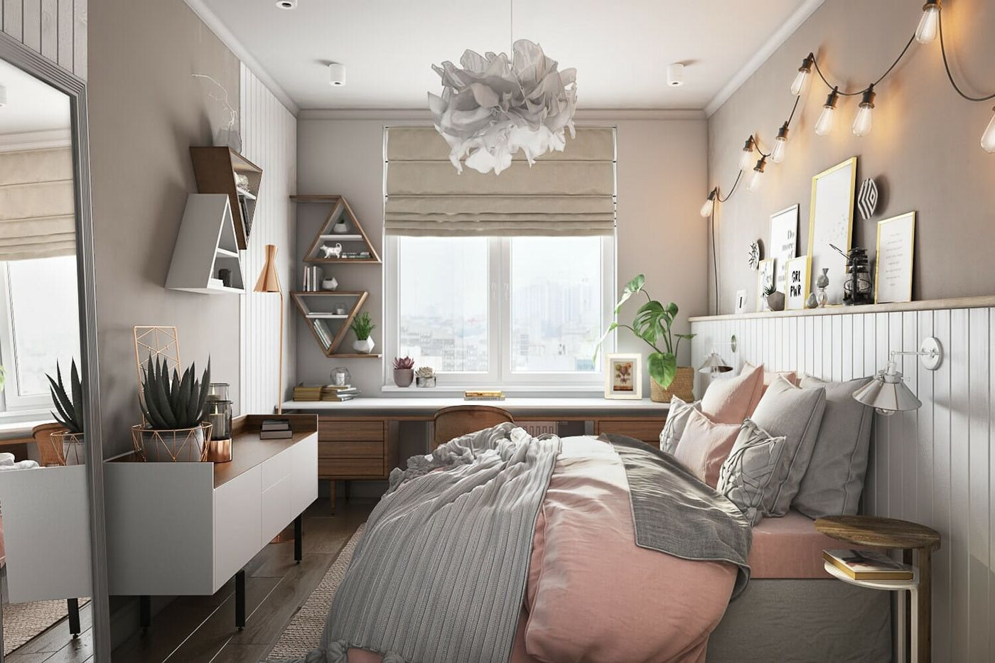 3D Architectural Rendering For A Refined Bedroom on