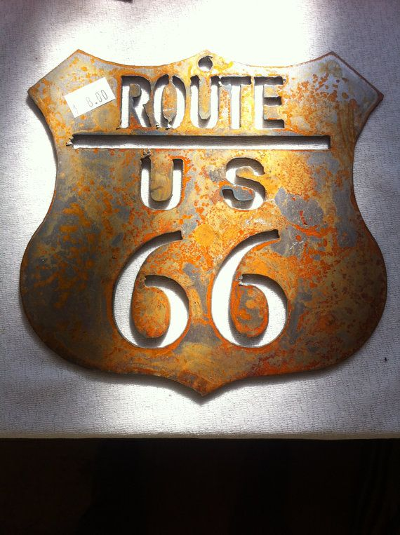 6 Inch Route Rt 66 Shield Rusty Rustic Metal Wall By ThorsForge, $3.50