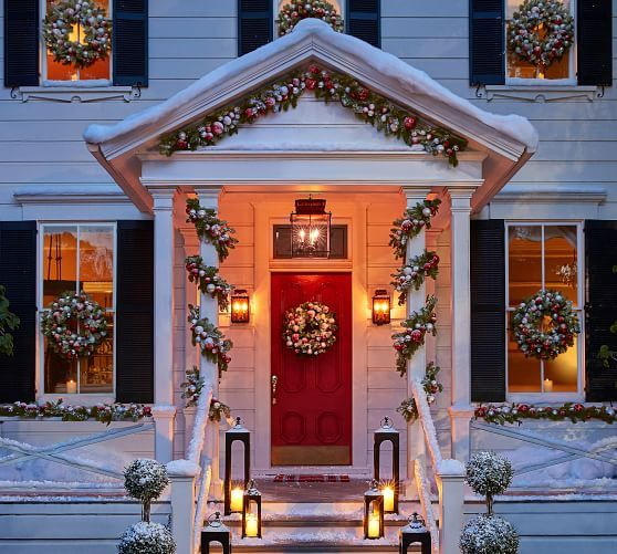 Ornament Pine Home D 233 Cor Collection Red Amp Silver Outdoor Christmas Outdoor Christmas Diy Front Porch Christmas Decor
