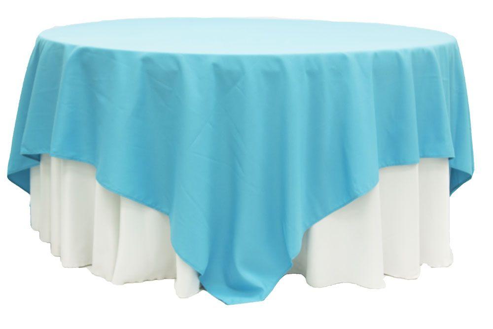 Polyester Square 90 X90 Overlay Tablecloth Aqua Blue Blue