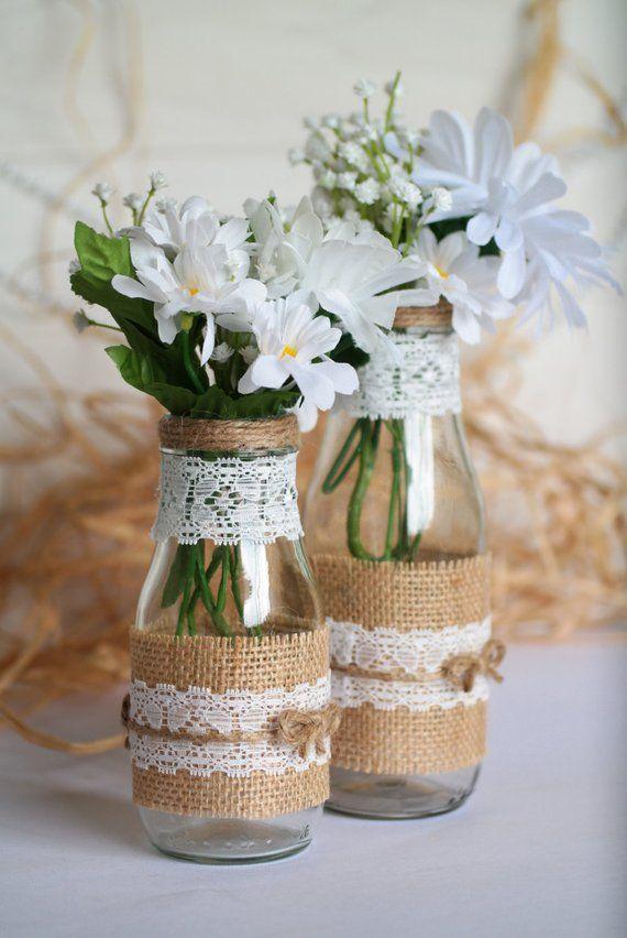 Rustic Wedding Centerpiece Vase Set, Burlap and Lace Mason Glass Vase, Country or Barn Wedding Decor