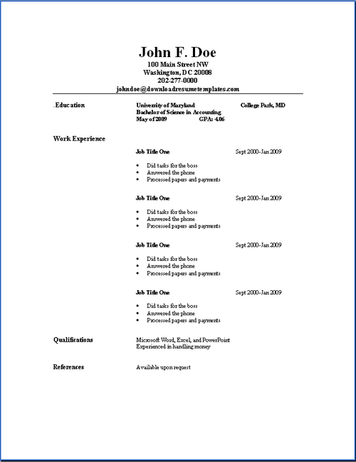 basic resume templates download resume templates - Basic Sample Resume Format