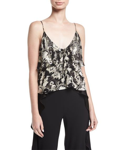 aa117ecb179 ALICE AND OLIVIA VANESSA TIERED DEVORÉ CAMISOLE TOP