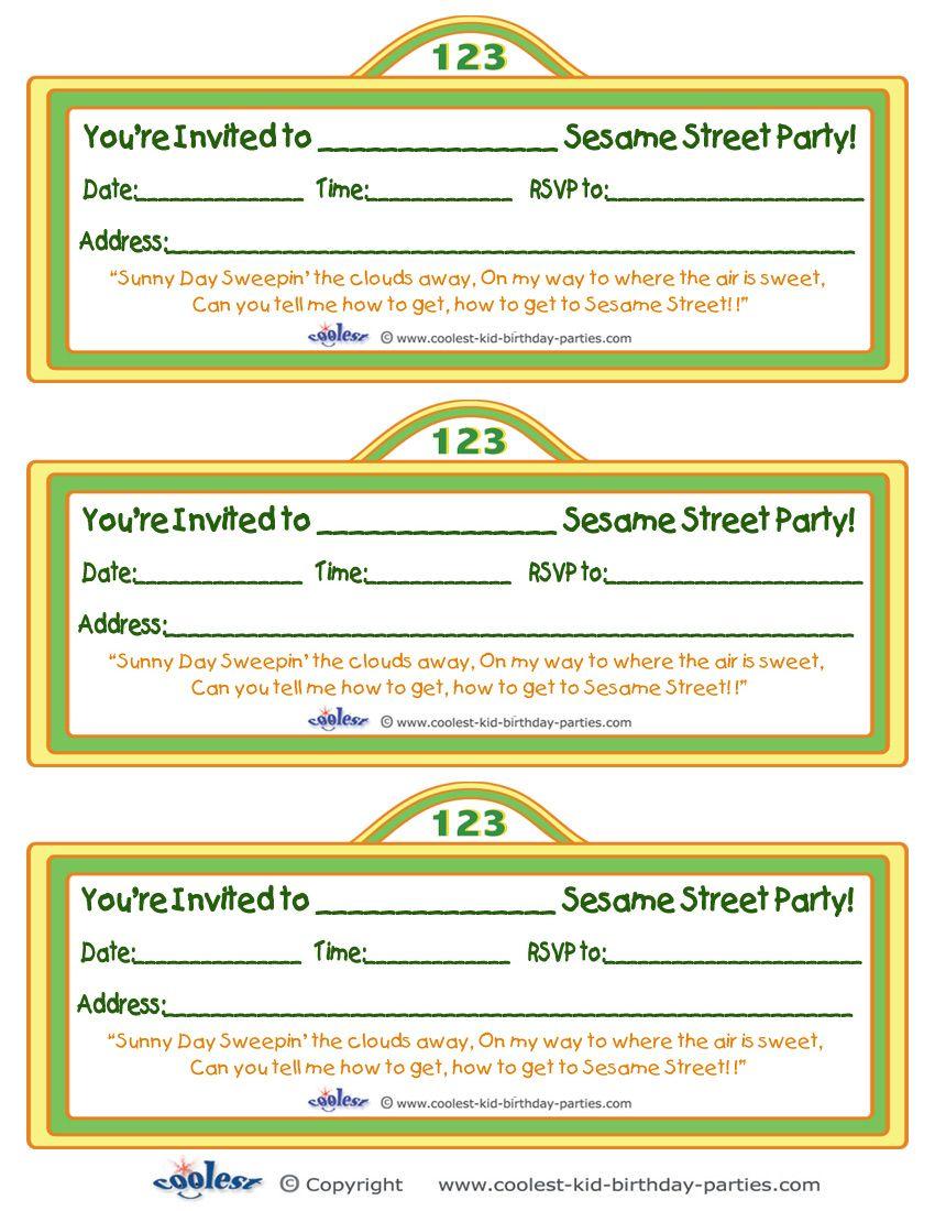 printable sesame street sign invitation coolest free