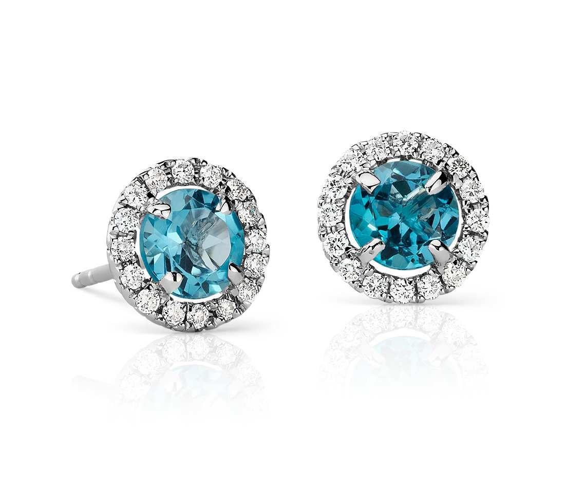 225e1f2ea233 Blue Topaz and Micropavé Diamond Stud Earrings in 18k White Gold (5mm)