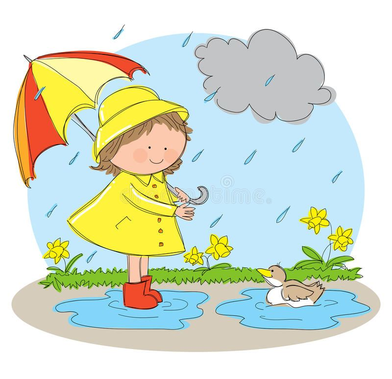 Spring Season Hand Drawn Picture Of The Spring Season Illustrated In A Loose S Ad Drawn Pict Rainy Day Drawing Scenery Drawing For Kids Kids Art Class