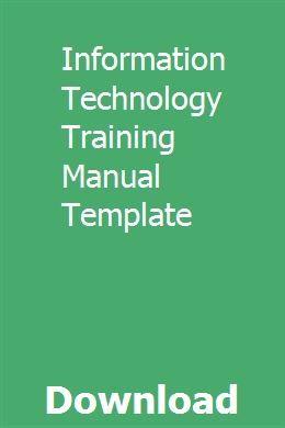 Information Technology Training Manual Template Ttimuhlavpoe