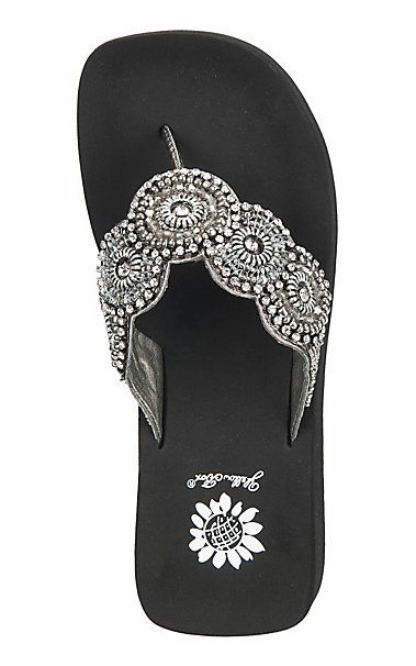 77974d039c4379 Yellow Box Women s Black with Circle Pattern Rhinestones Flip Flops ...