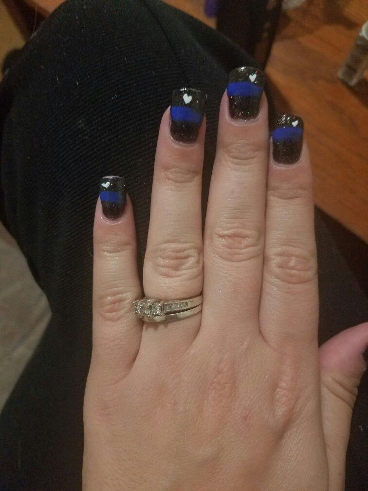 Thin Blue Line Nails Back The Blue Police Lives Matter Lines On Nails Cute Nails Pretty Nails