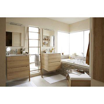 Meuble de salle de bains N o, d cor ch ne naturel, 60 cm 320 - Meuble De Salle De Bain Sans Vasque