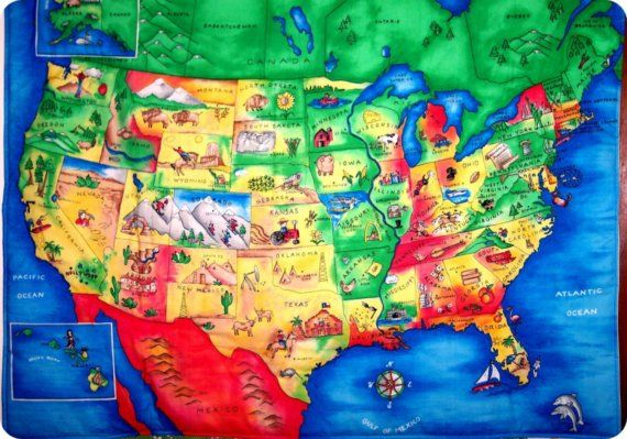 Colorful USA map illustrated for kids Travel Pinterest