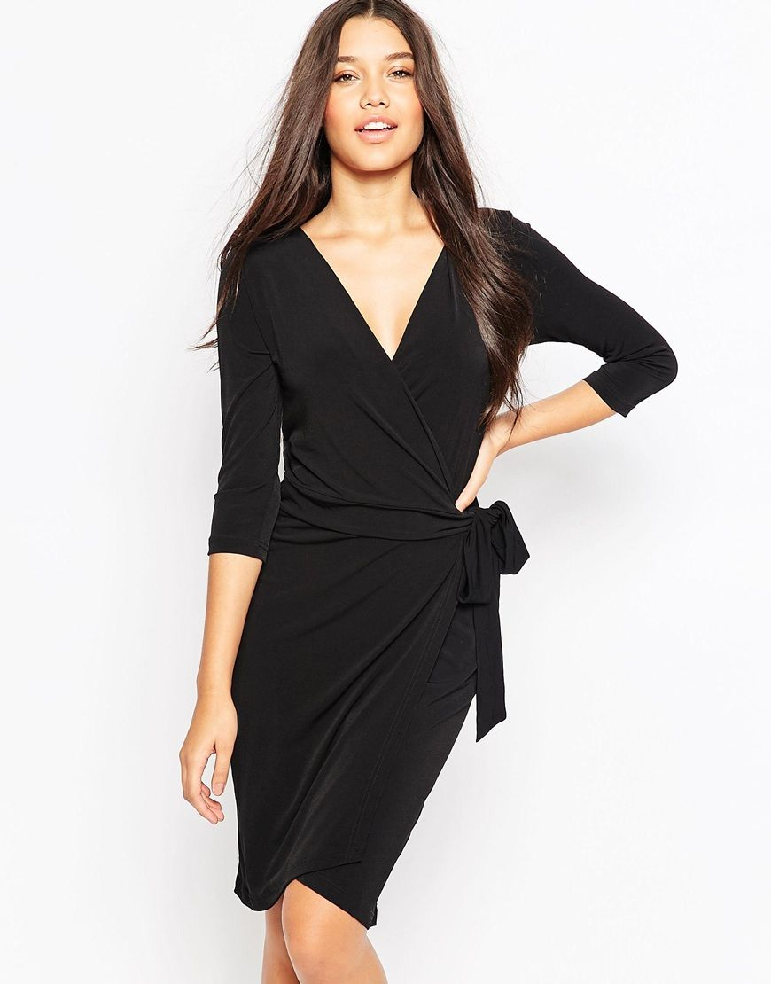 Ichi 3 4 Sleeve Wrap Front Dress At Asos Com Dresses Wrap Front Dress Clothes [ 1110 x 870 Pixel ]