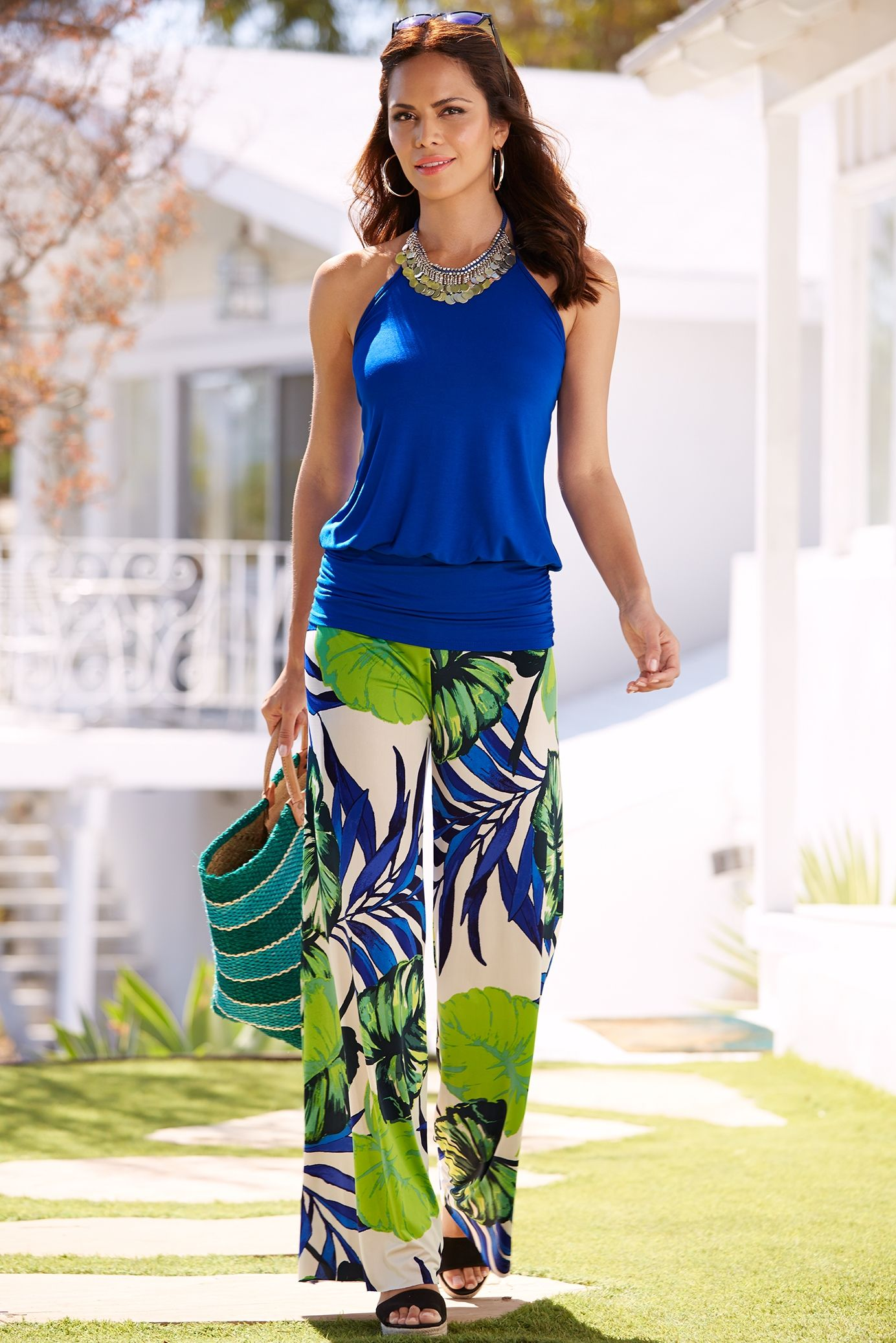 Fashion style Tropical ootd printed palazzo top trends for woman