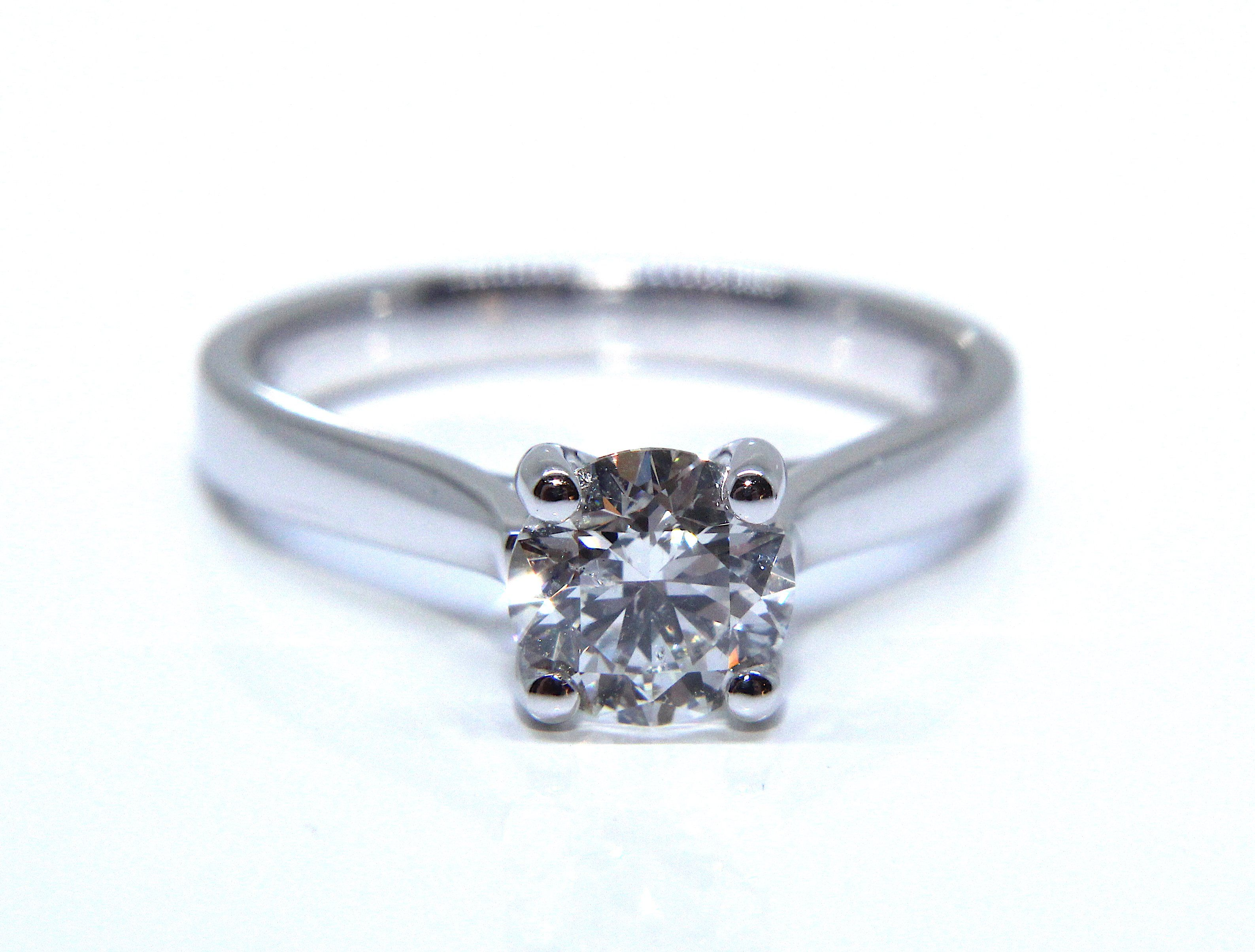 in ring white brilliant solitaire platinum engagement cut diamond prong round bypass