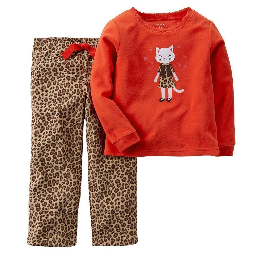e83ebed49fb7 Carter s Nwt Girl 12M 2T Fleece Pajama Kitty Animal Pj Pajama 2Pc