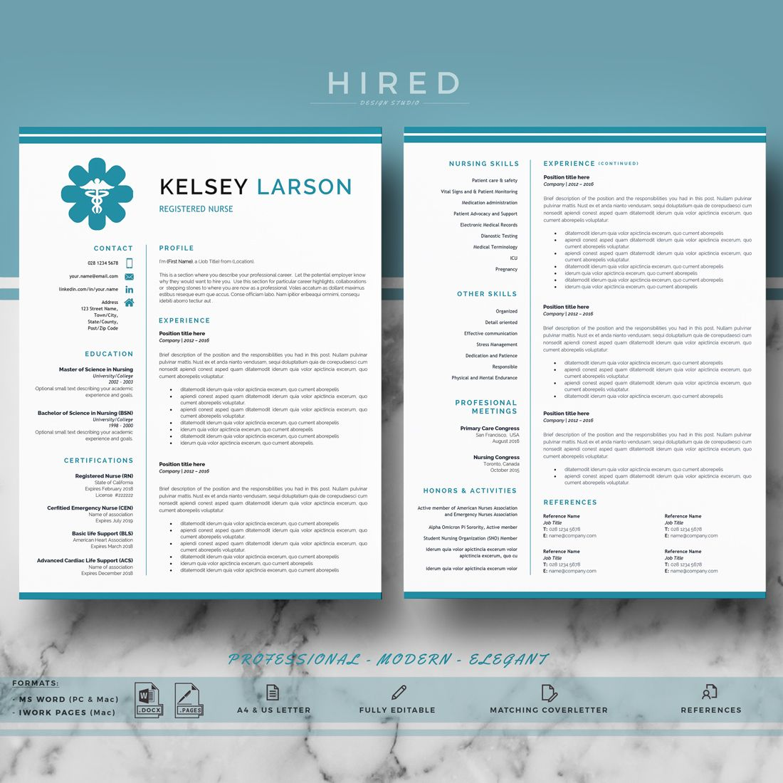 Nurse Resume Template Doctor Resume Template For Ms Word And Etsy Nursing Resume Template Medical Resume Template Nursing Resume