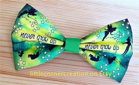 Peter Pan Never Grow Up Themed  Hair Bow by LittleCornerCreation