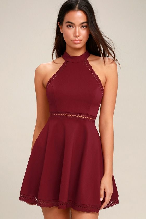 033c5726cb Reach Out My Hand Burgundy Lace Skater Dress in 2019