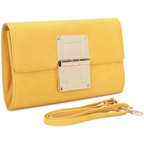 Yoins Yellow Leather-look Gold-tone Metal Clutch Bag with Shoulder... (54 BAM) ❤ liked on Polyvore featuring bags, handbags, clutches, faux leather handbags, faux-leather handbags, faux leather purses, imitation handbags and structured purse