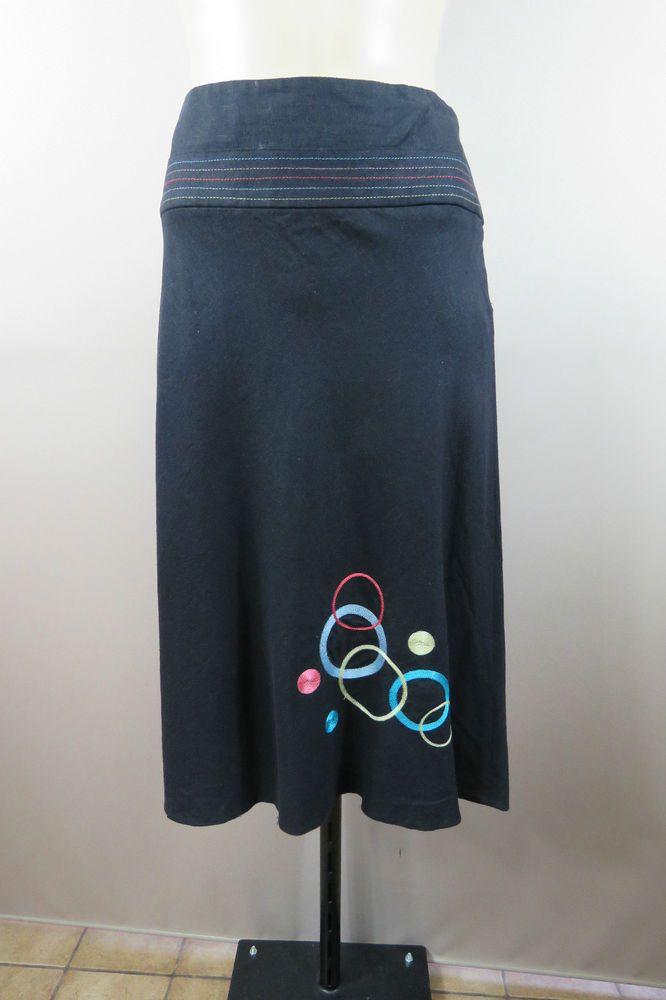 Size 12 M GEORGE Ladies Black Skirt Linen Boho Hippie Casual Resort ALine Style