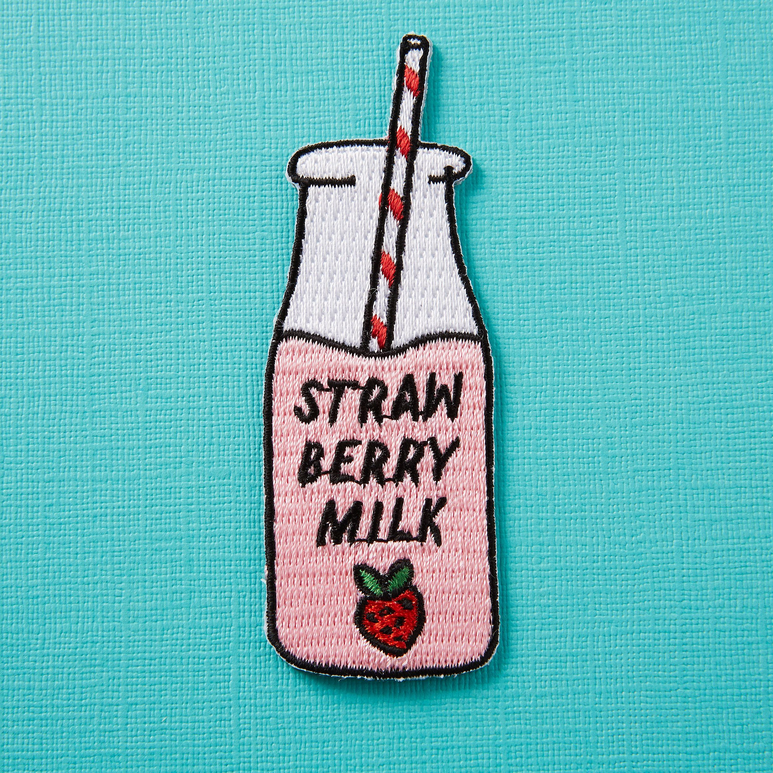 Strawberry Milk Embroidered Iron On Patch Milkshake Food Drink Patch Custom Denim Patch Game By Punkypins On E Iron On Patches Festival Patches Patches