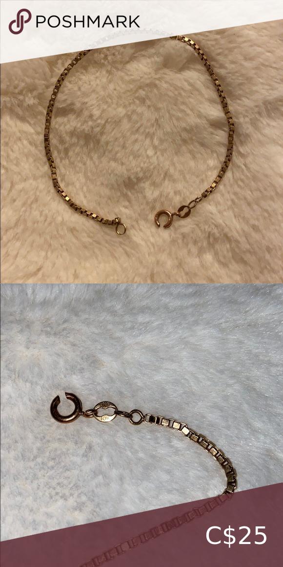Box Link 10 Karat Gold Bracelet In 2020 Bracelets Women Jewelry Gold
