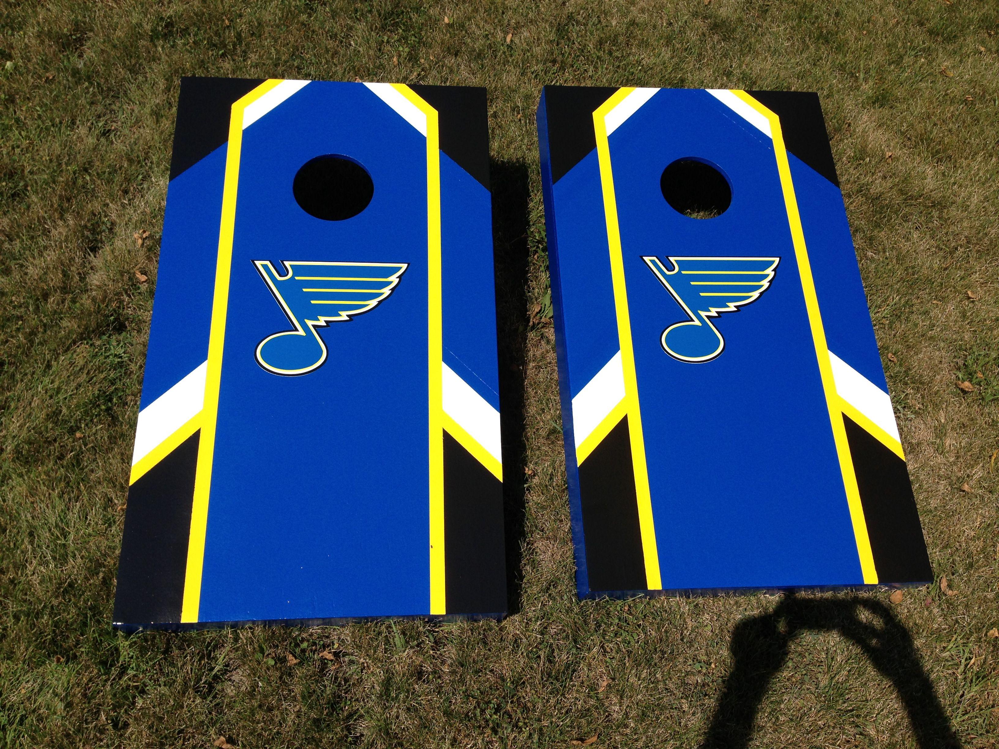 st louis blues cornhole boards made by adam carolan - Cornhole Sets