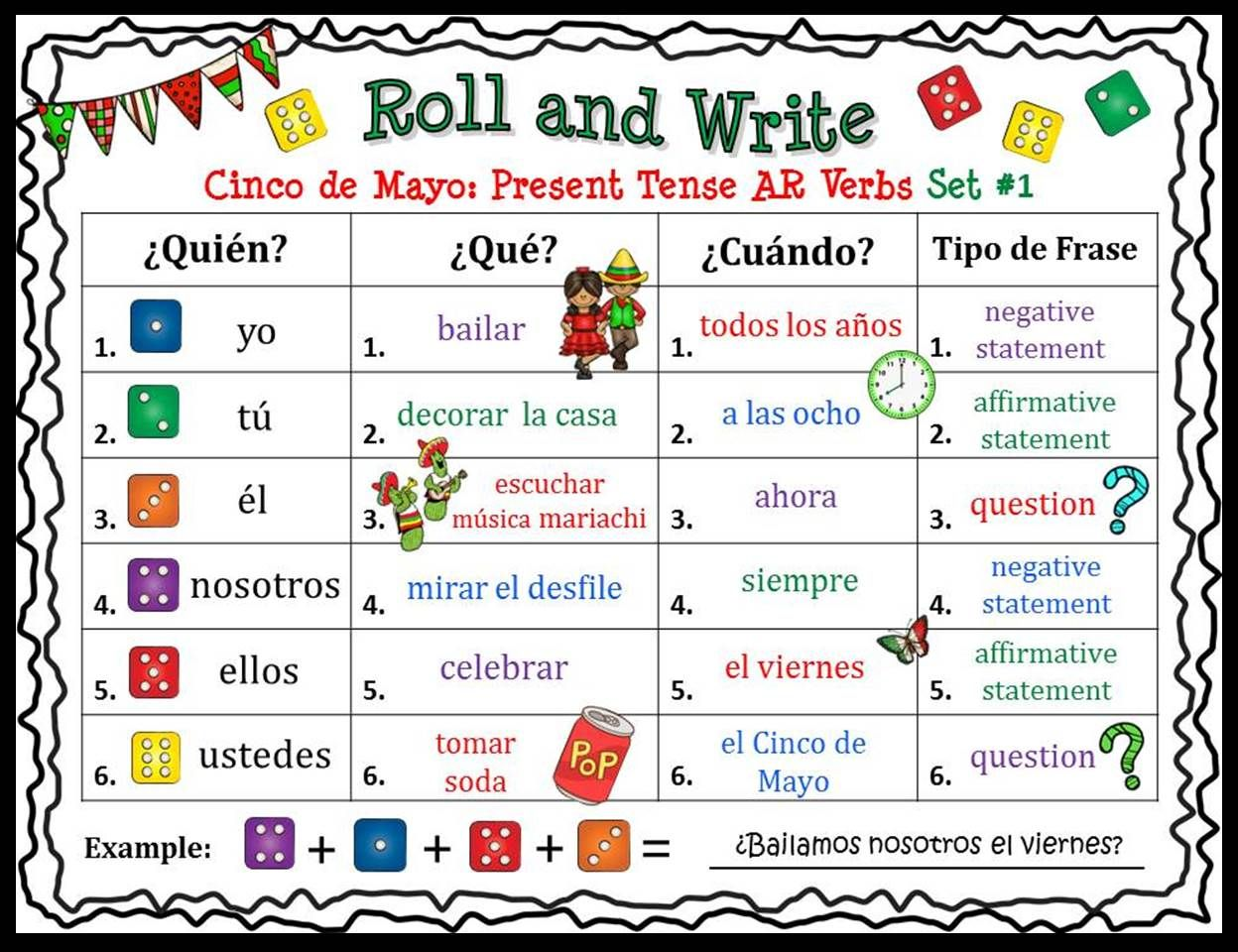 Fun And Engaging Roll And Write Activity Boards For Cinco De Mayo Students Will Practice Ar Er Learning Spanish For Kids Learning Spanish Teaching Spanish [ 960 x 1248 Pixel ]