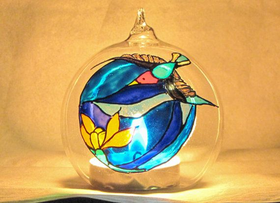 Swallow glass ball t-light holder usable by RowenaGlassCreations