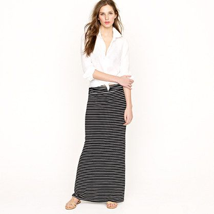 Jersey maxiskirt in stripe with white boy shirt #jcrew | Spring ...