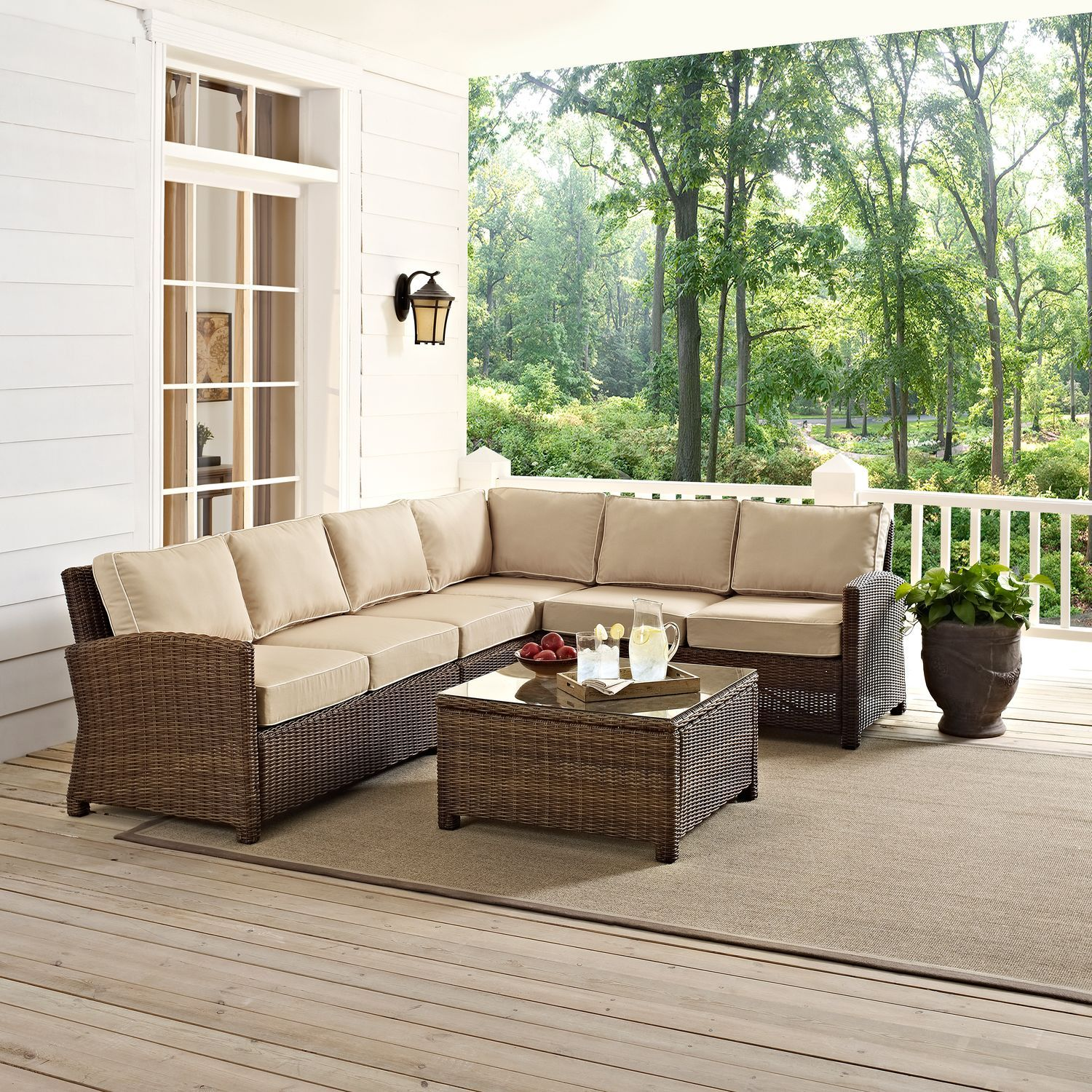 Patio Furniture Destin Fl: Destin 4-Piece Outdoor Sectional And Coffee Table Set