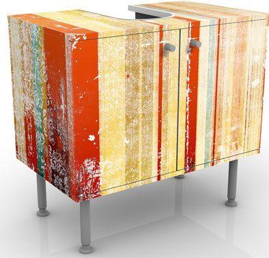 Waschbeckenunterschrank   Streaky I   Vintage Badschrank Orange Beige  Waschbecken, Regal, Badezimmer