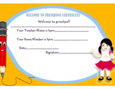 Welcome To Pre School Certificate Welcome Certificate Template
