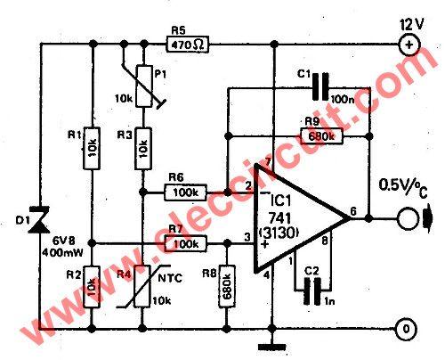simple temperature to voltage converter circuit eleccircuit rh pinterest com