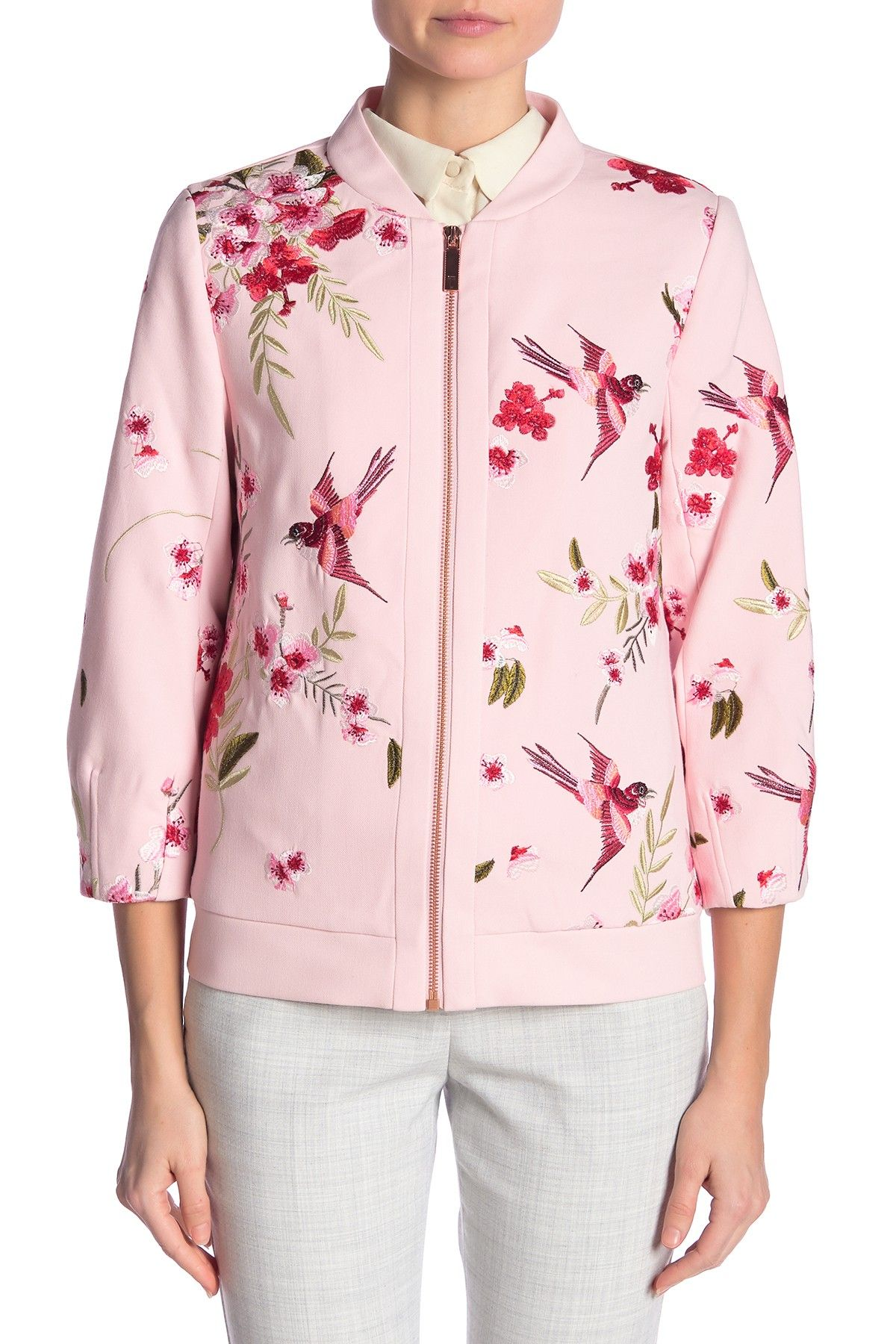 Bird Blossom Spring Bomber Jacket By Ted Baker London Details Intricate Floral Embroidery Beautifies This Trendy Bomber Jacket Fit This Style Fits True T [ 1800 x 1200 Pixel ]