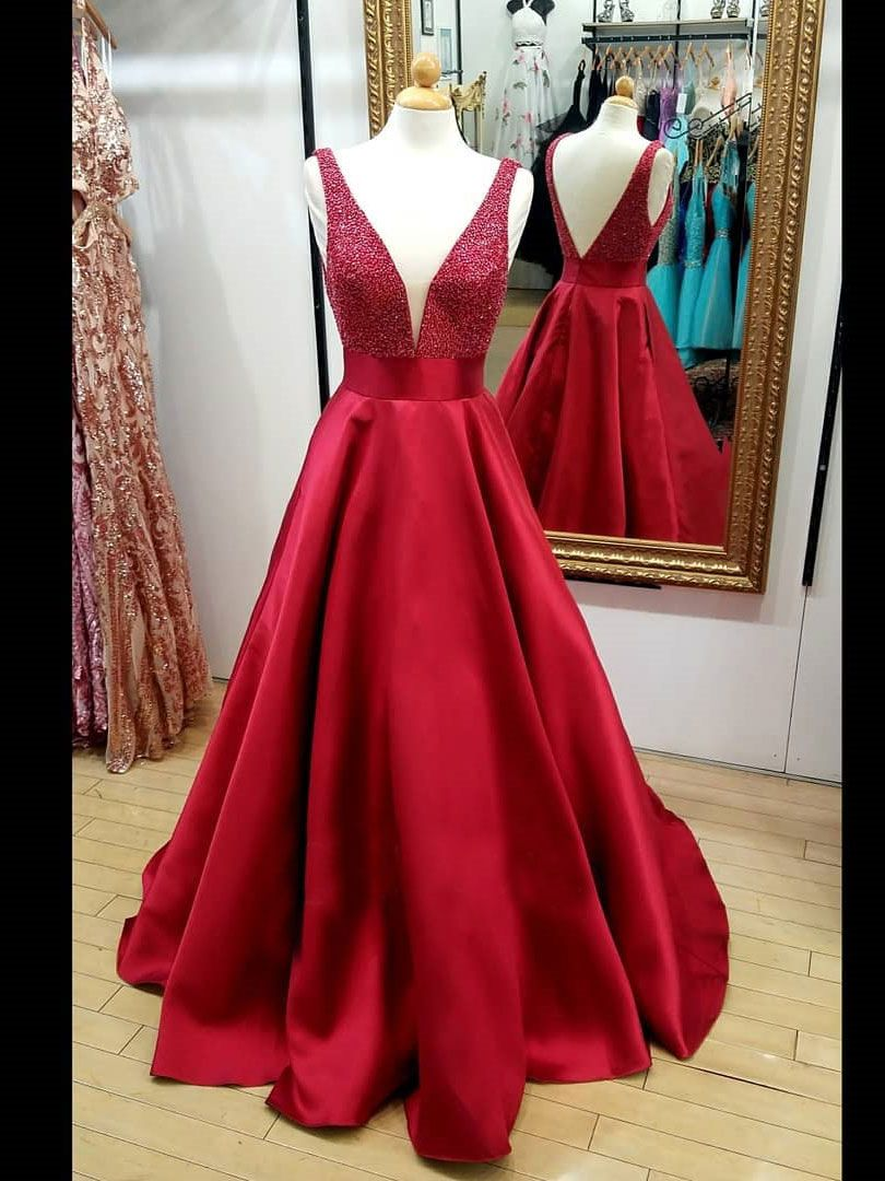 Long red vneck quinceanera dresses a line beaded backless cheap