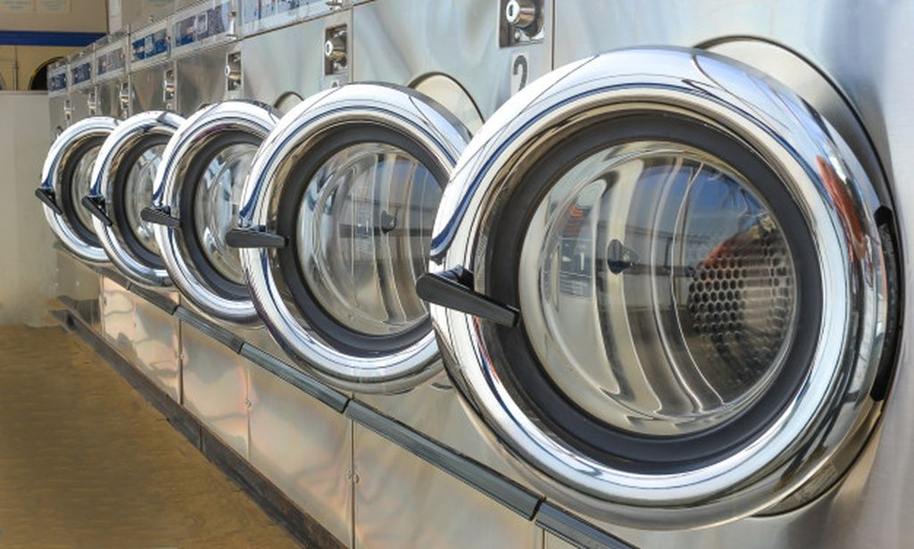 Row Of Industrial Laundry Machines In Laundromat Paid Ad Ad Industrial Laundromat Machines Row In 2020 Laundry Business Laundromat Laundry Machine