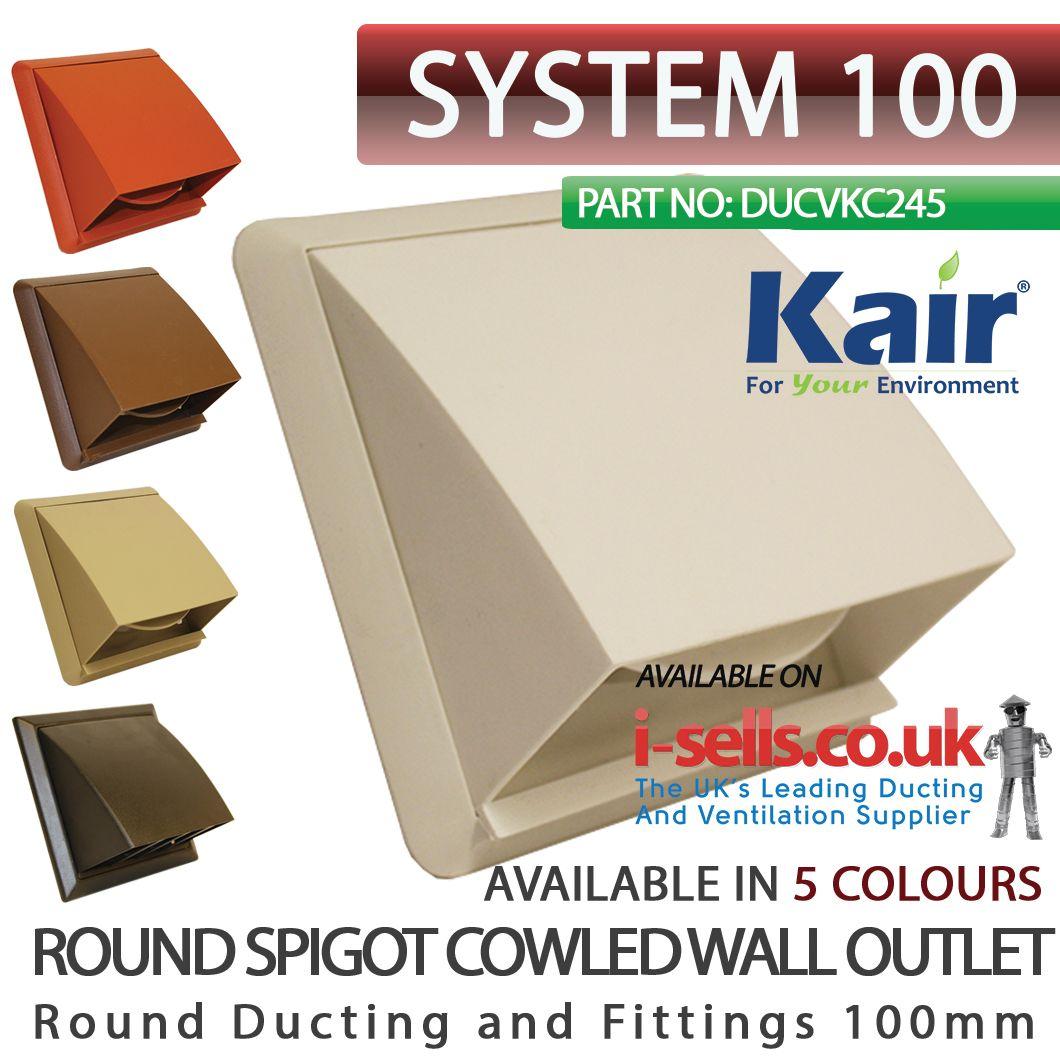 Kair cowled vent with damper flap & 100mm round spigot