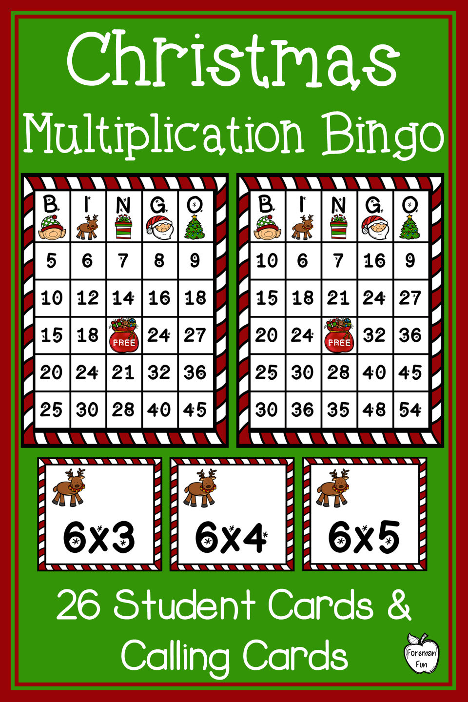 Christmas Multiplication Bingo is the perfect math game for your third grade  or fourth grade students. Pra…   Christmas math games [ 1440 x 960 Pixel ]