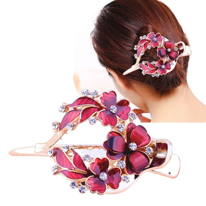 NEW 4cm Light purple pink fabric rose flower fork hair clip fashion womens